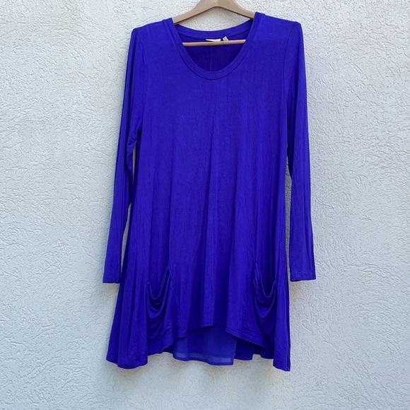 Logo Lori Goldstein Knit Shirt Top purple large